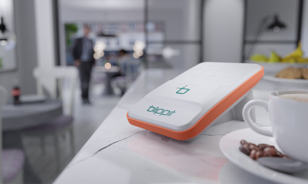 Blippit POS Payment device on cafe counter