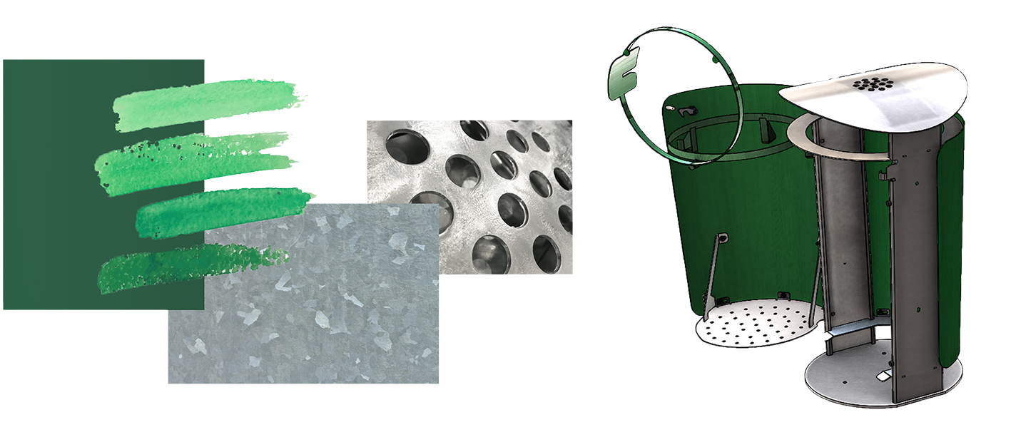 Collage of sketches for Malmö Stads wastebins Ikon