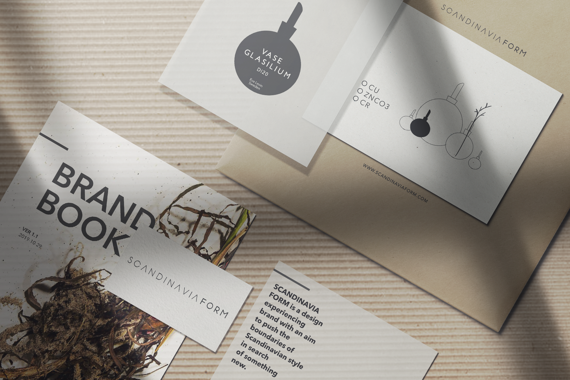 Scandinavia Form Brand work Collage with Logo illustrations in earthly colors