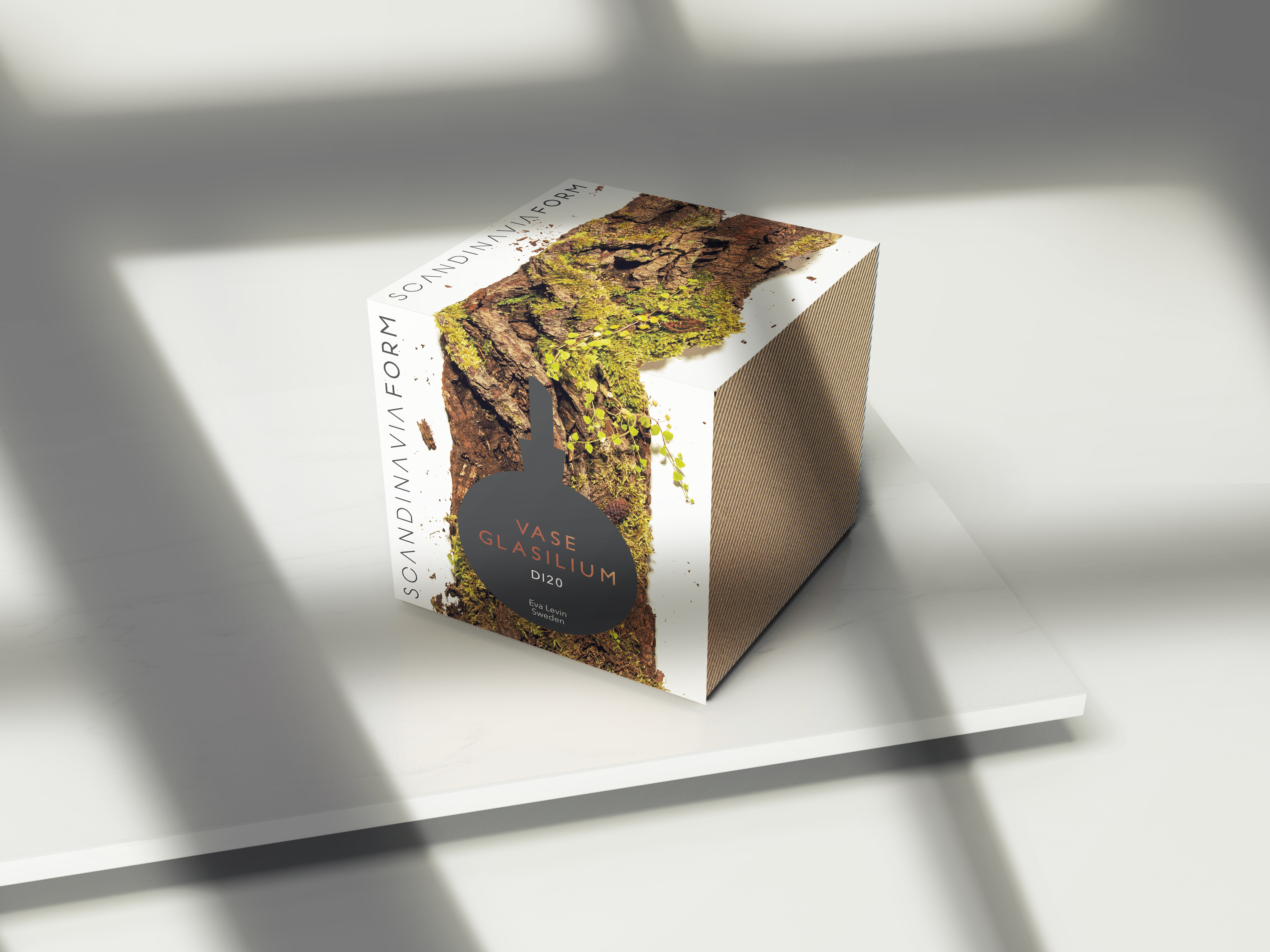 Scandinavia Form Vase Glasilium packaging in cardboard and printed sleeve