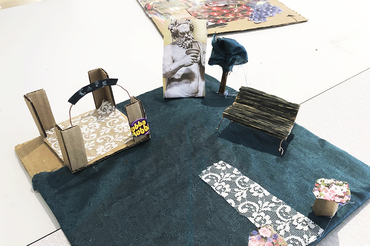 Miniature park made in fabrics and cardboard paper