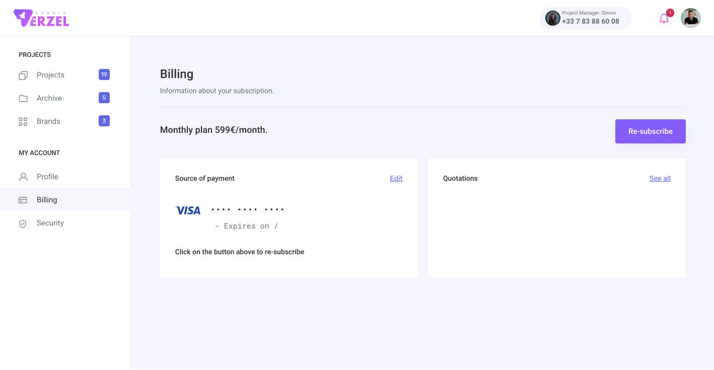 Billing page