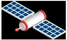 Ilustração isométrica de um satélite