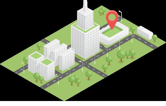 Ilustração isométrica de uma cidade