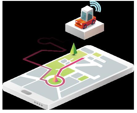 Ilustração isométrica de um telefone celular com imagem de carro transmitindo sinal de socorro