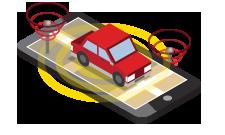 Ilustração isométrica do telefone celular com sinal de transmissão do carro