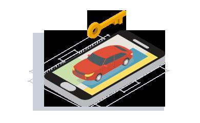 Ilustração isométrica de um telefone celular com a imagem de um carro e uma chave na estrada