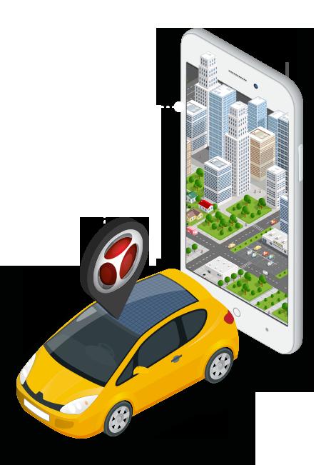isometrico celular, mapa e carro