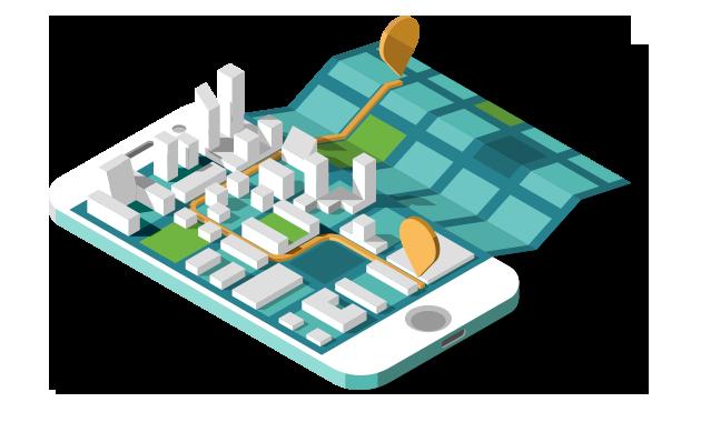 Ilustração isométrica de um telefone celular com a imagem de uma cidade com POI
