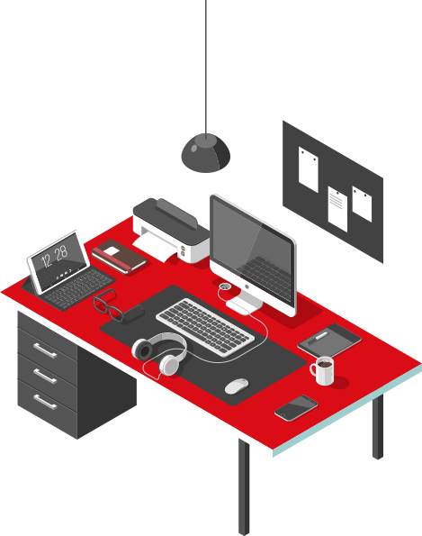 Ilustração isométrica de uma mesa de escritório com computador