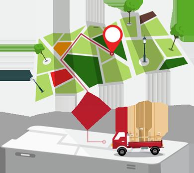 Ilustração isométrica de um telefone celular com uma imagem de um caminhão de entrega e um mapa com uma POI