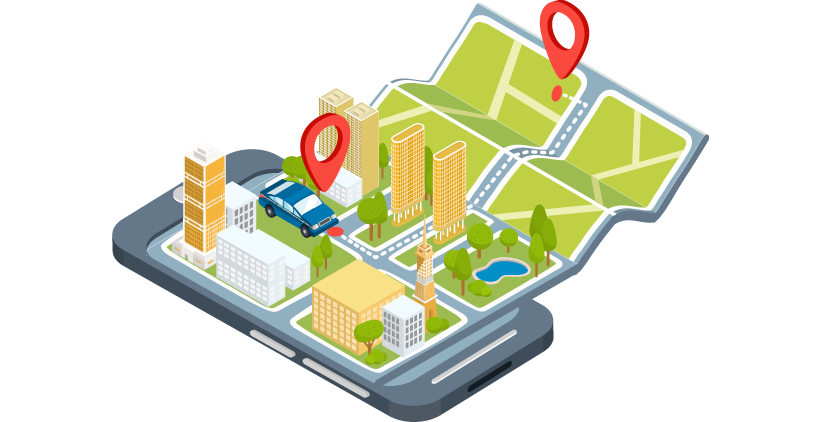 Ilustração isométrica de um telefone celular com uma imagem de carro no mapa de uma cidade com um poi