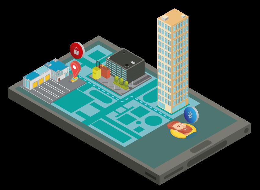 isometrico celular e cidade