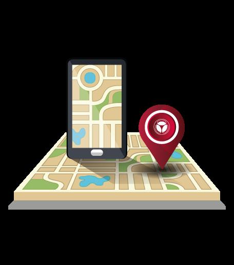 isometrico mapa e celular e posicionamiento