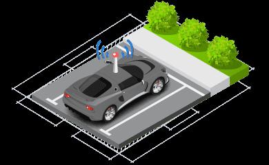Ilustração isométrica de um carro estacionado com tracker