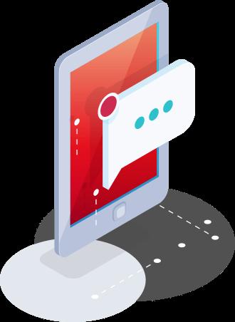 Ilustração isométrica de um tablet flutuante