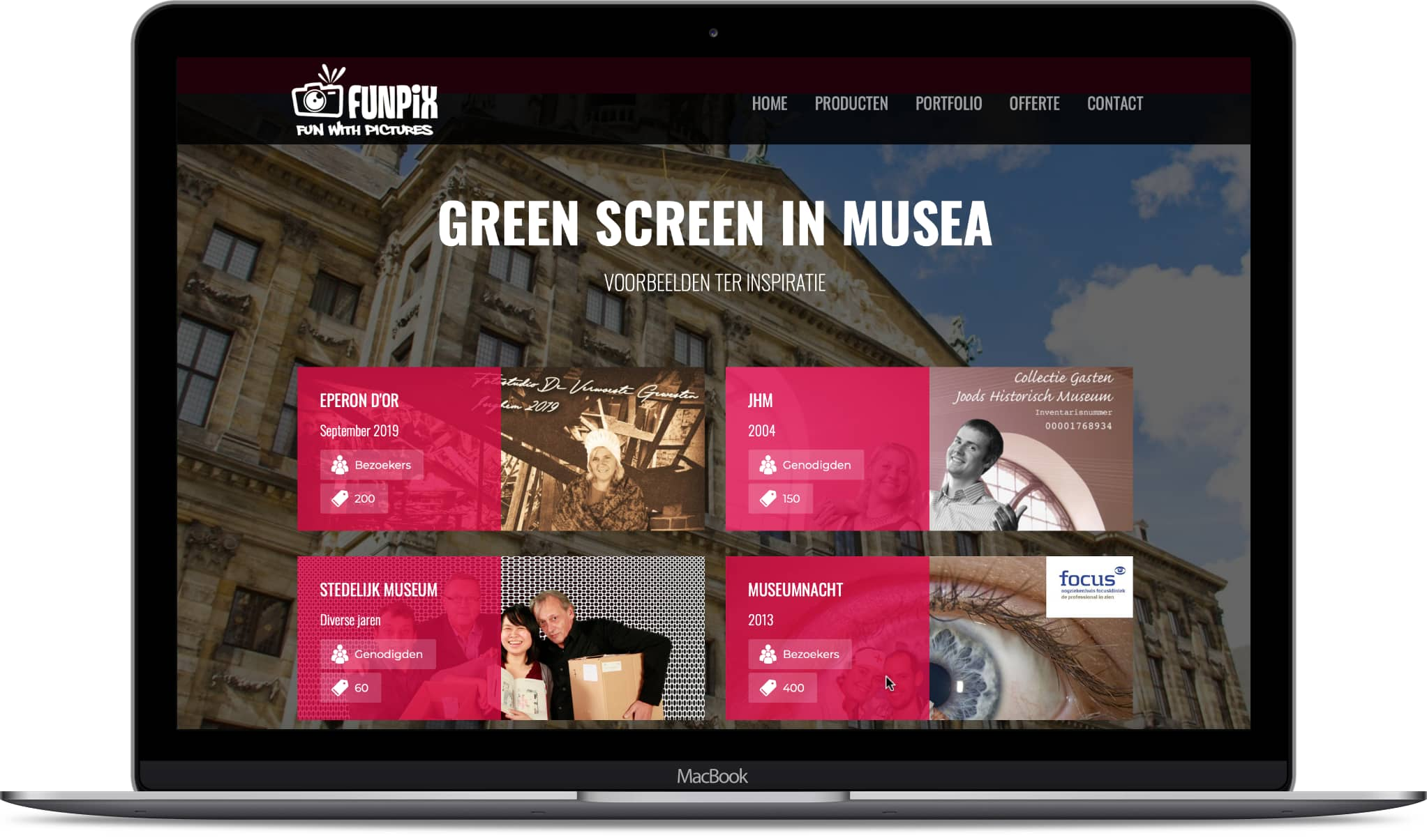 Desktop met pagina website Funpix