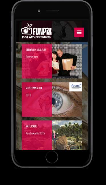Smartphone met pagina website Funpix