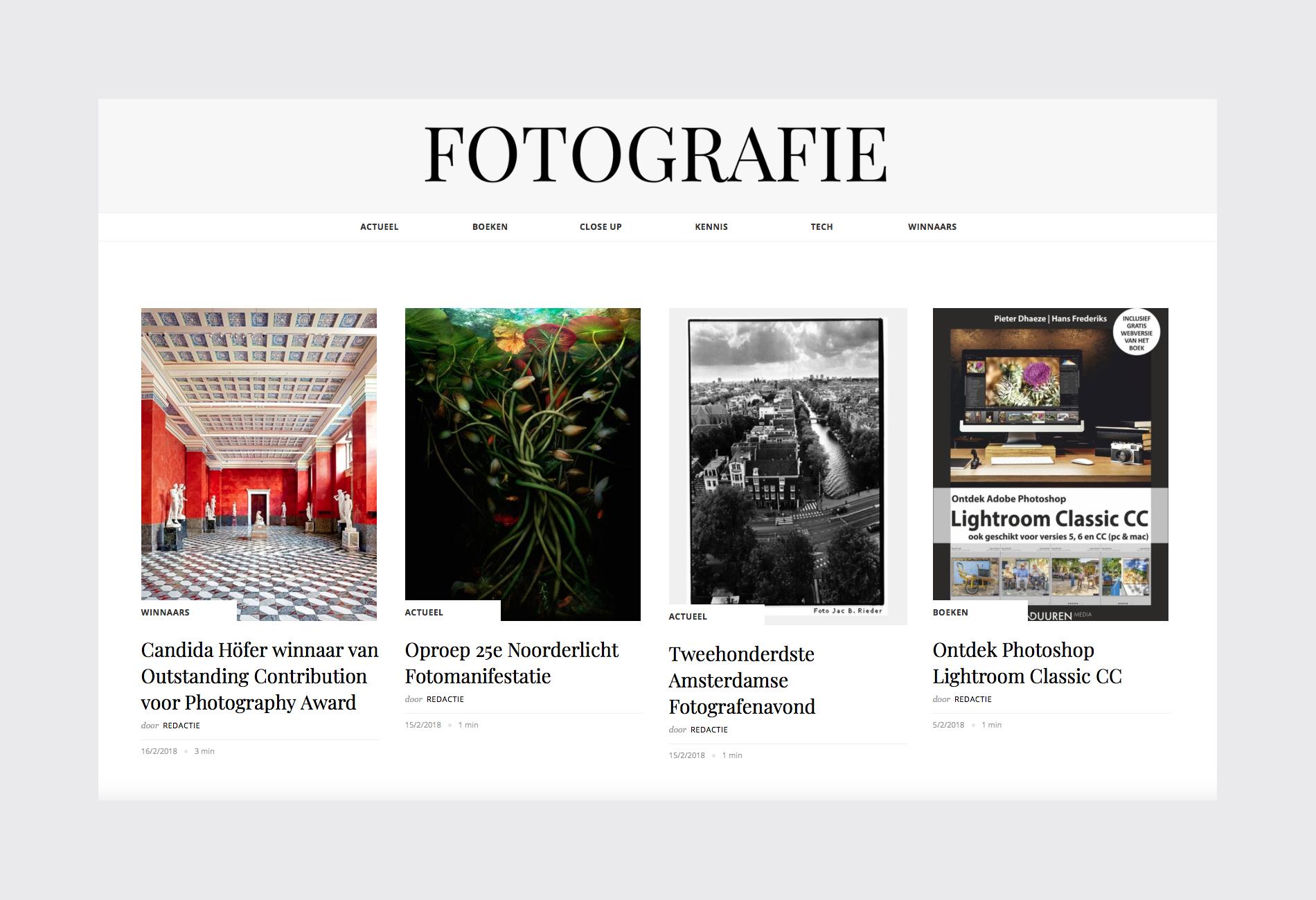 Homepage voorbeeld van Fotografie.nl