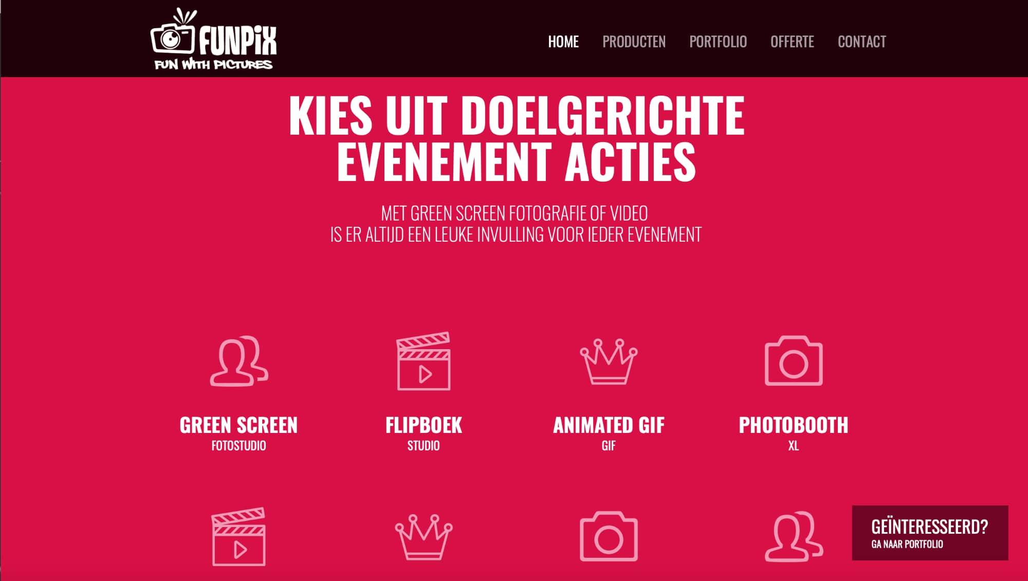 Pagina van website Funpix