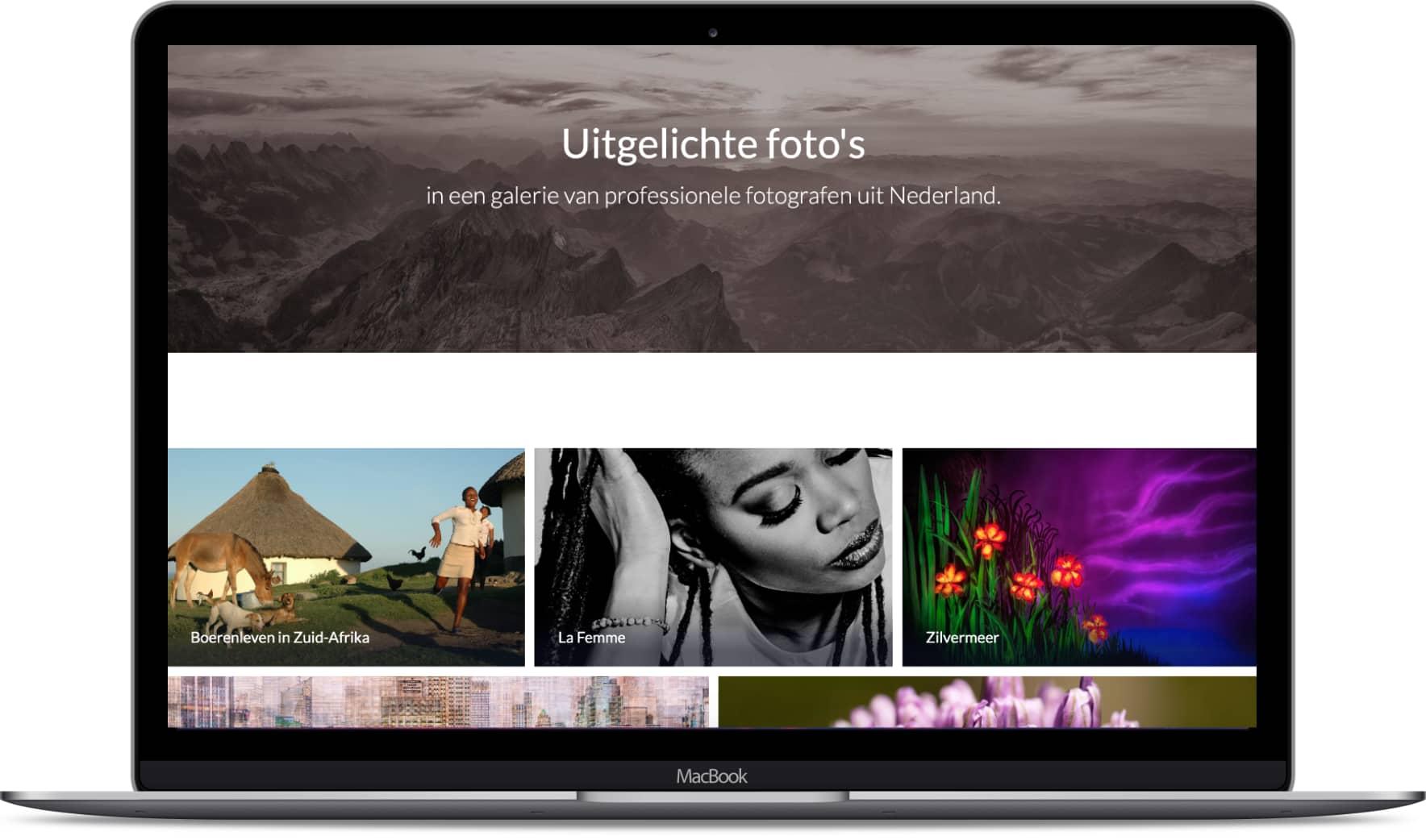 Desktop met pagina van Fotogalerie.nl