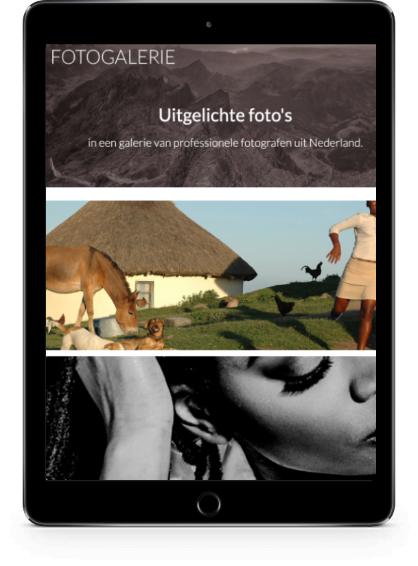Tablet met pagina van Fotogalerie.nl