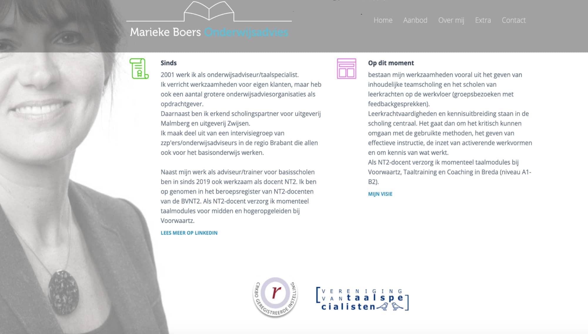 Website pagina van ZZP-er voor onderwijsadvies