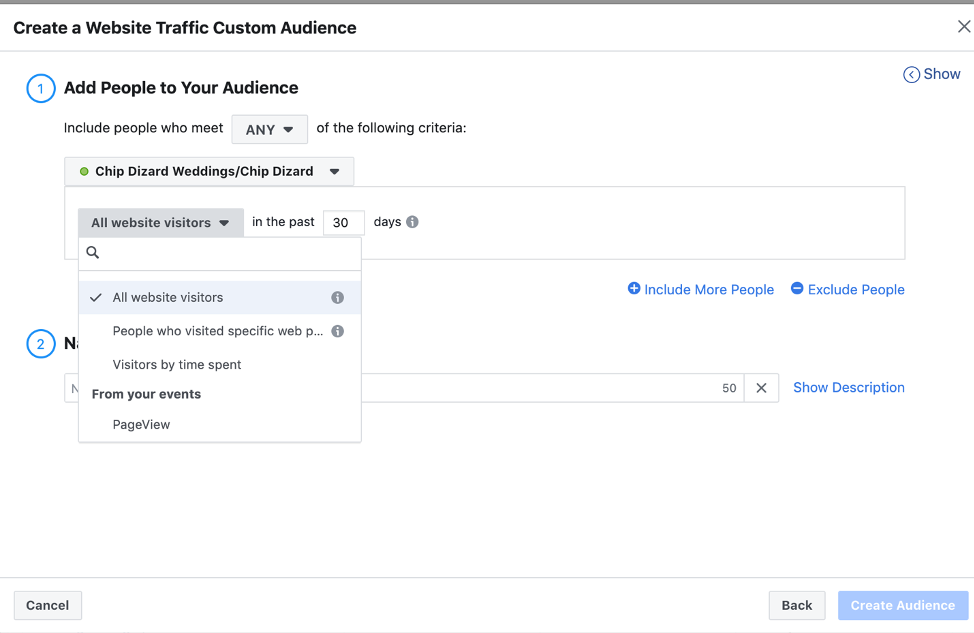 How photographers can create a Custom Audience in Facebook Business Manager.