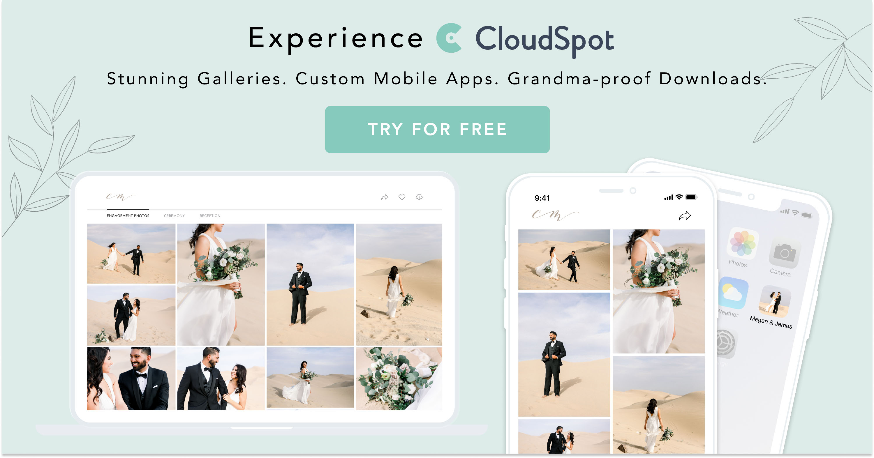 Try CloudSpot client galleries for photographers for free!