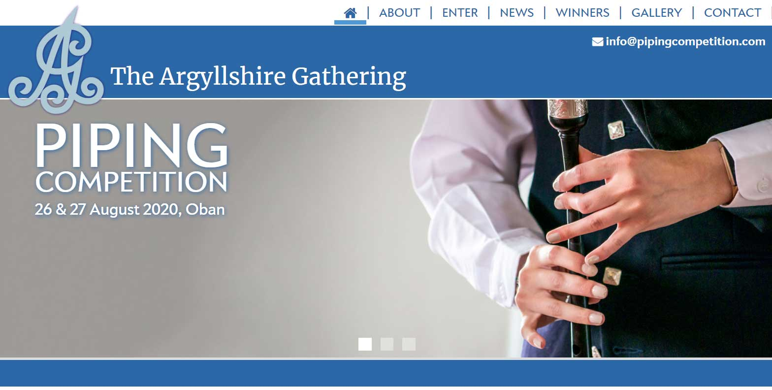 Argyllshire Gathering Piping Competition website