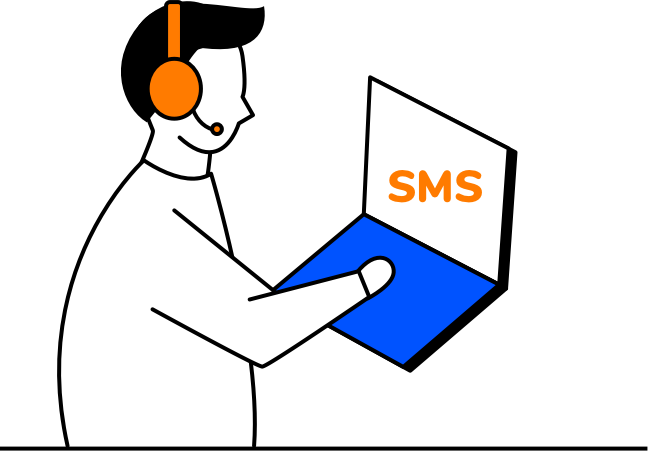 Agent sends SMS to customer