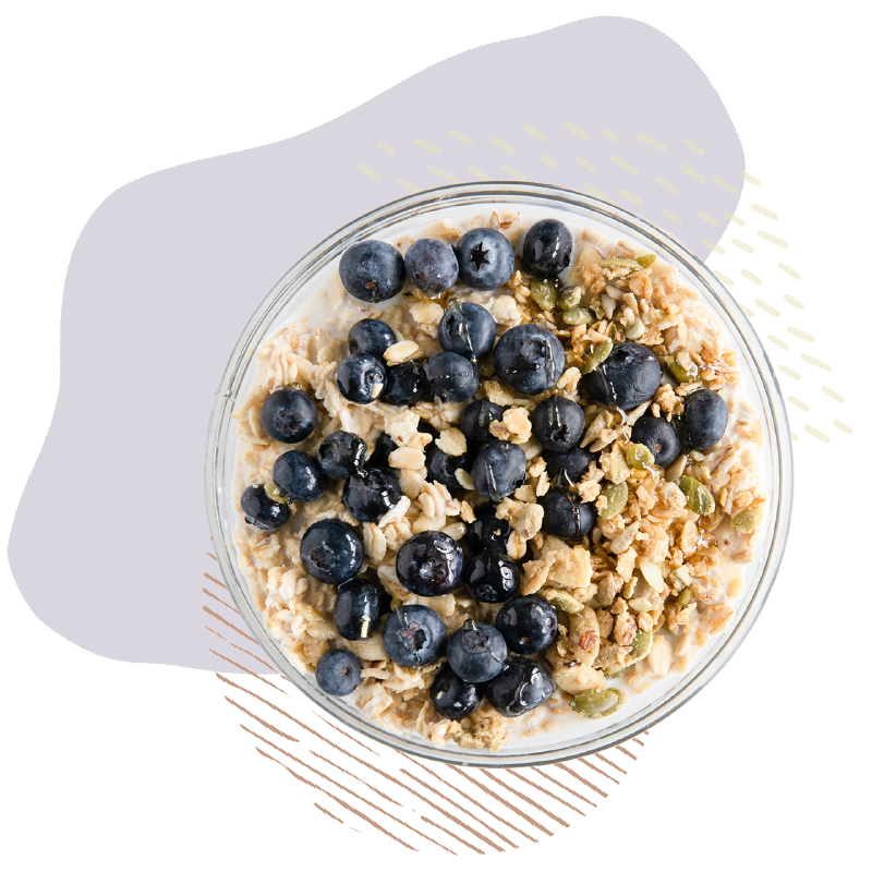 The perfect bowl of oats and blueberry