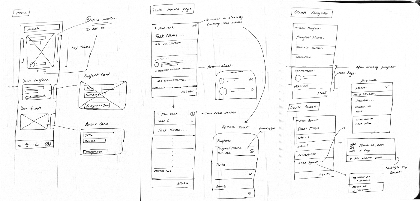 Wireframes with pen and paper for DSC KIIT