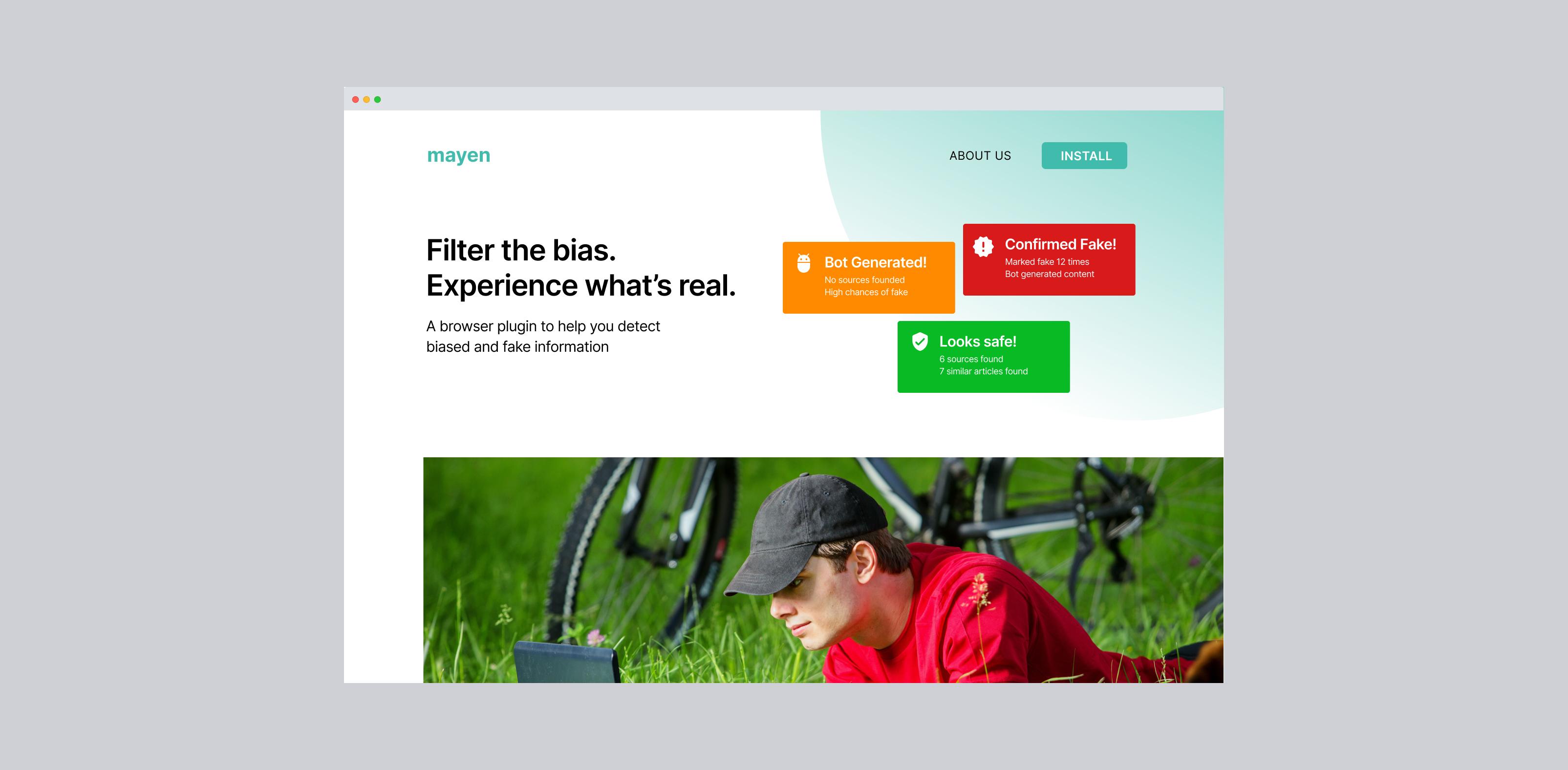 Image of a desktop website of Mayen