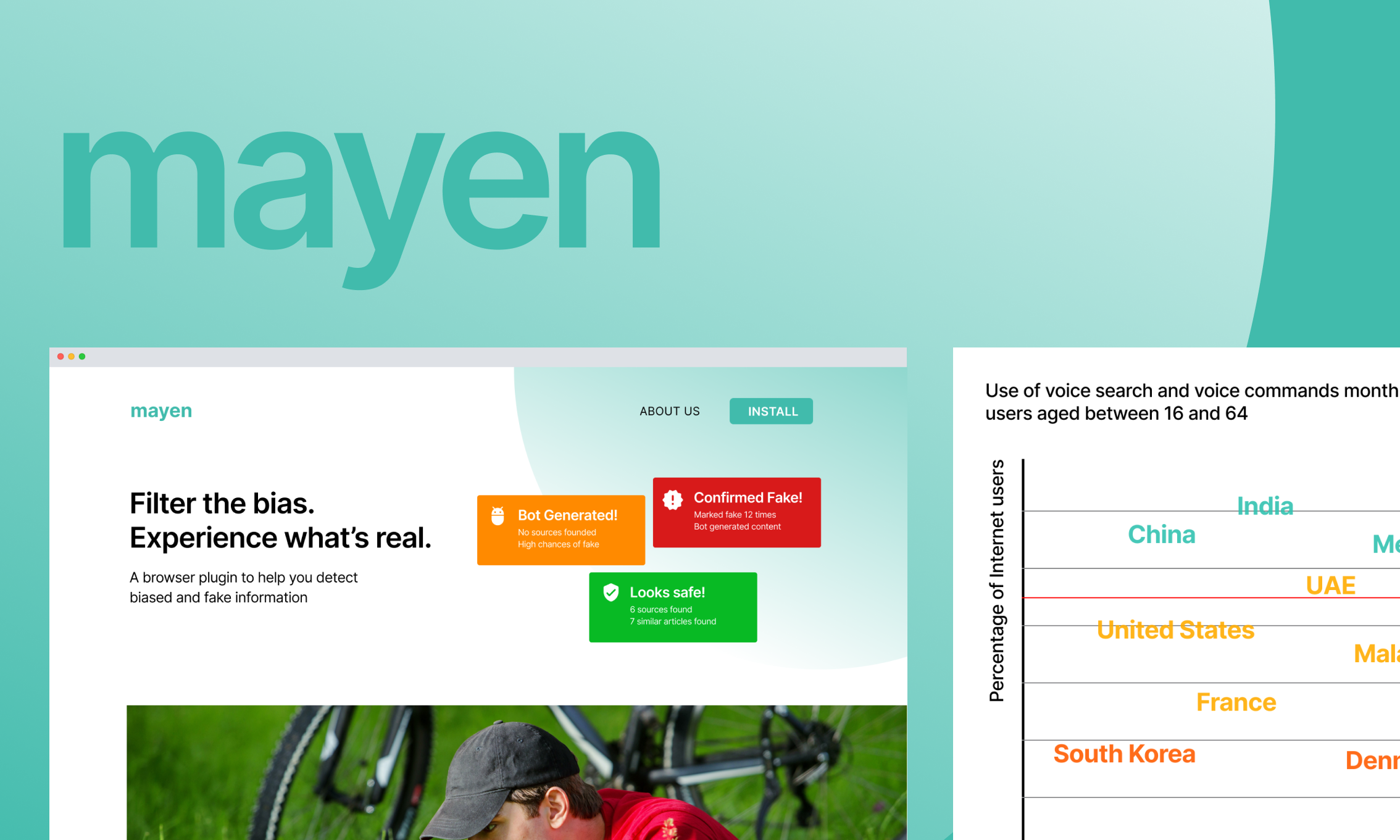 Mayen Case study. Visual of two desktop screens and the mayen logo.