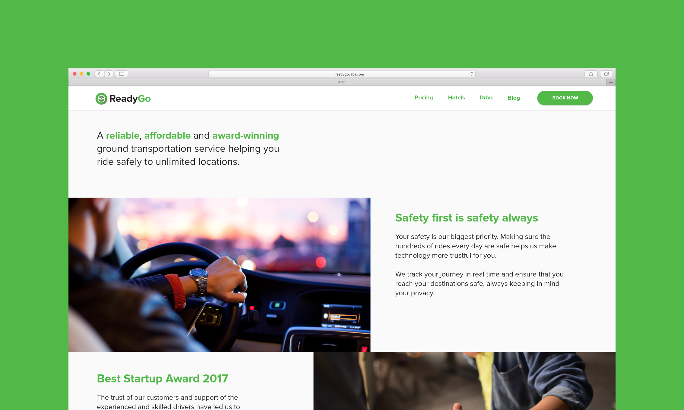 ReadyGo Cabs case study. Visual of a desktop website.