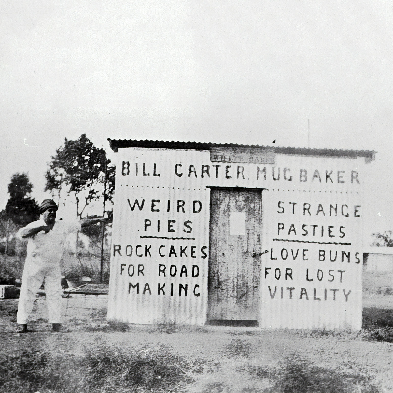 old black and white photo of pie shop shack