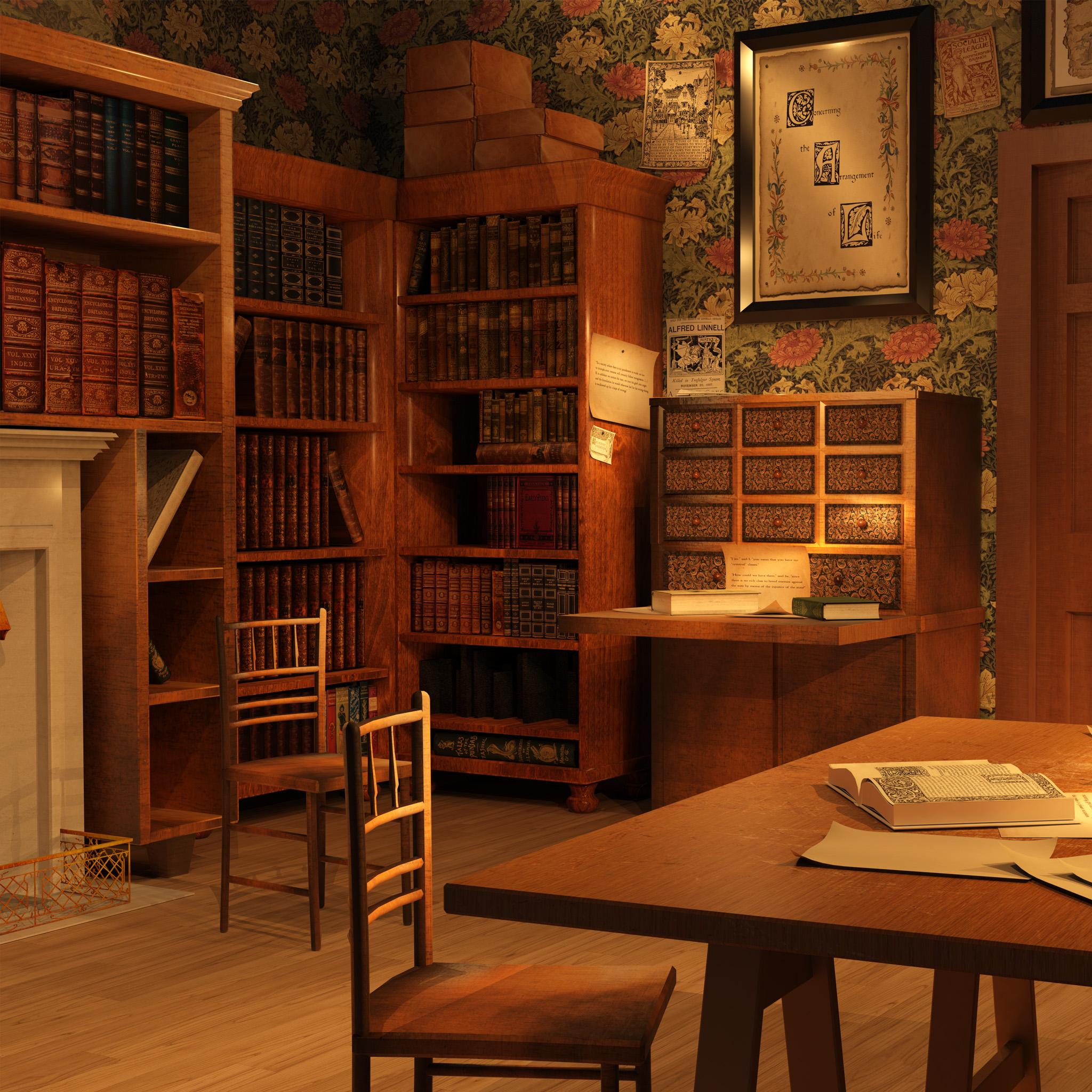 Dessin 3D le bureau de William Morris