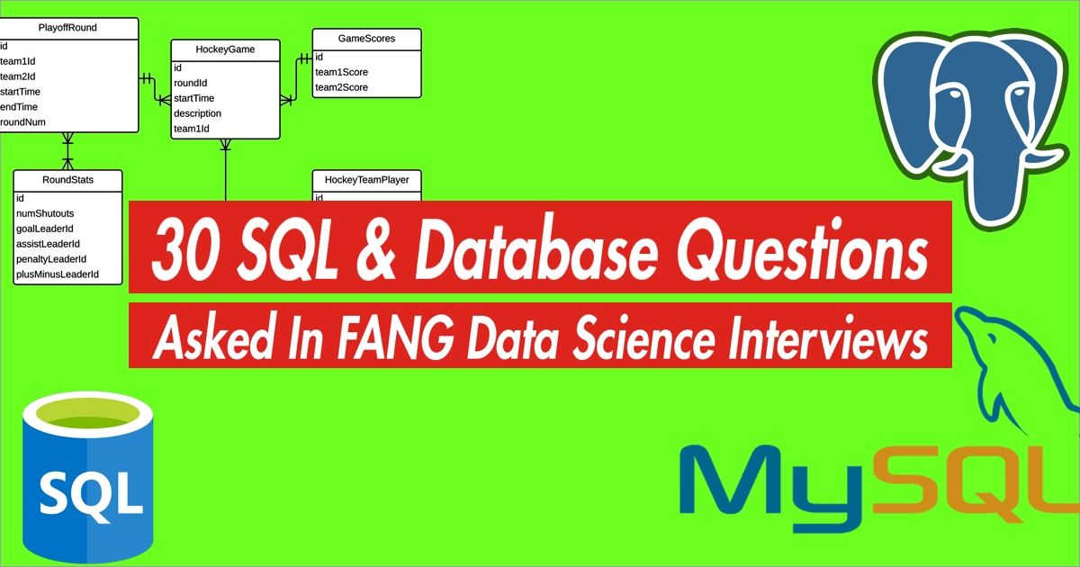 30 SQL and Database questions asked in tech company data science interviews.
