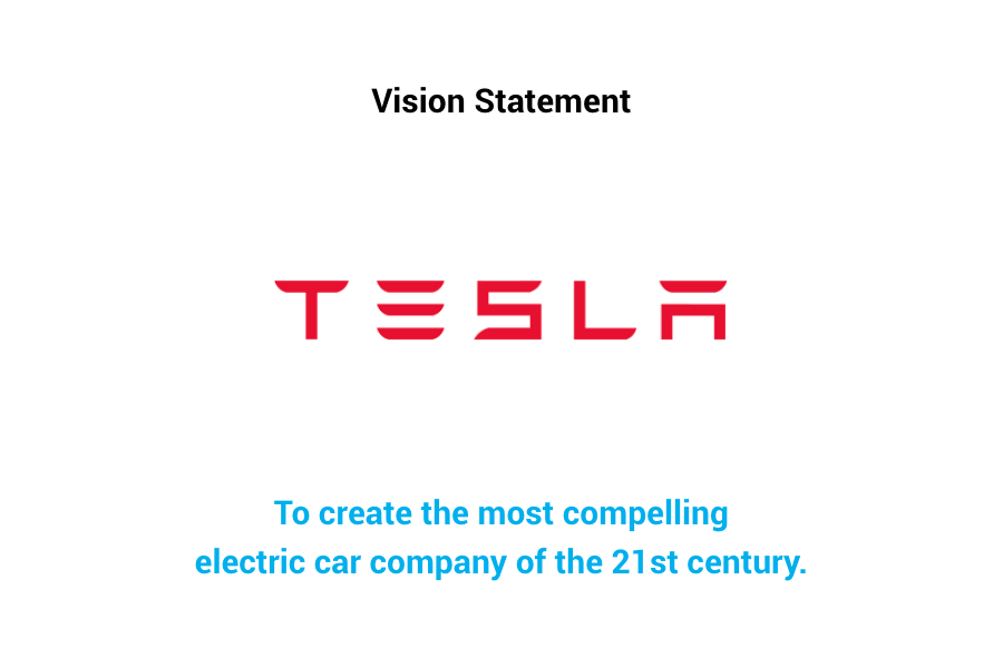 Tesla Vision Statement - To create the most compelling electric car company of the 21st century.