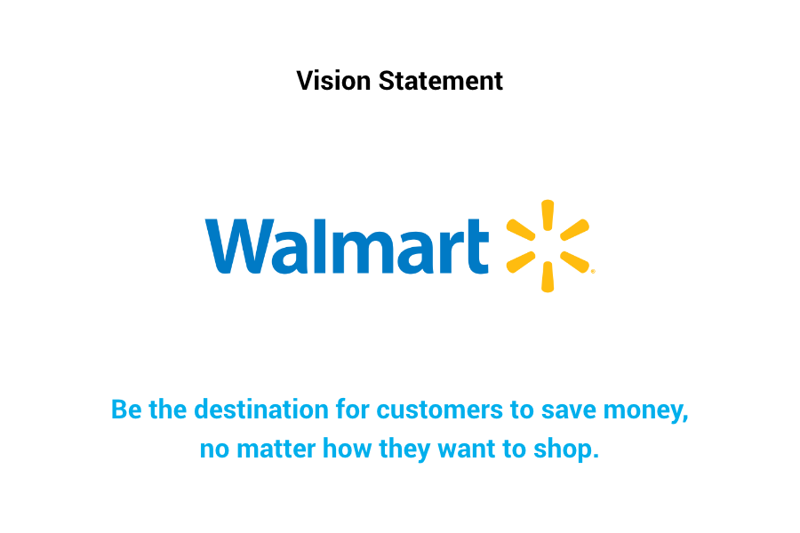 Walmart Vision Statement - Be the destination for customers to save money, no matter how they want to shop.