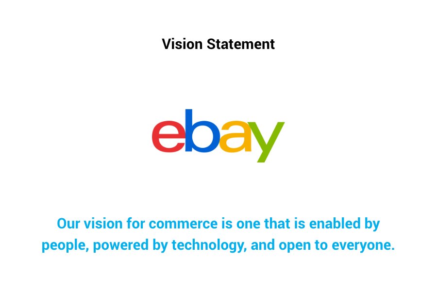 Ebay Vision Statement - Our vision for commerce is one that is enabled by people, powered by technology, and open to everyone.