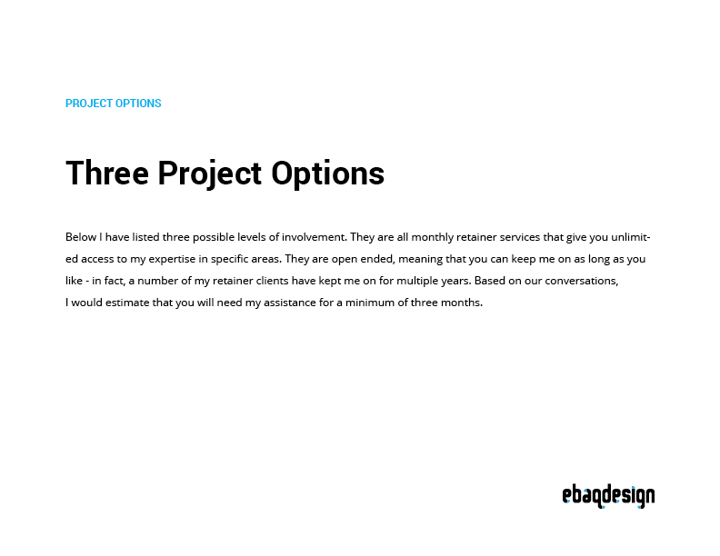 Design proposal: Project options