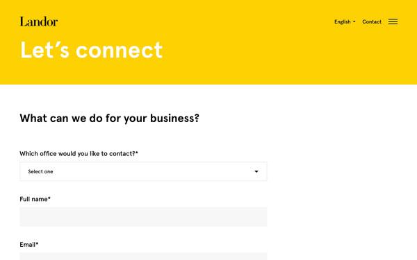 Landor Associates design firm - contact page