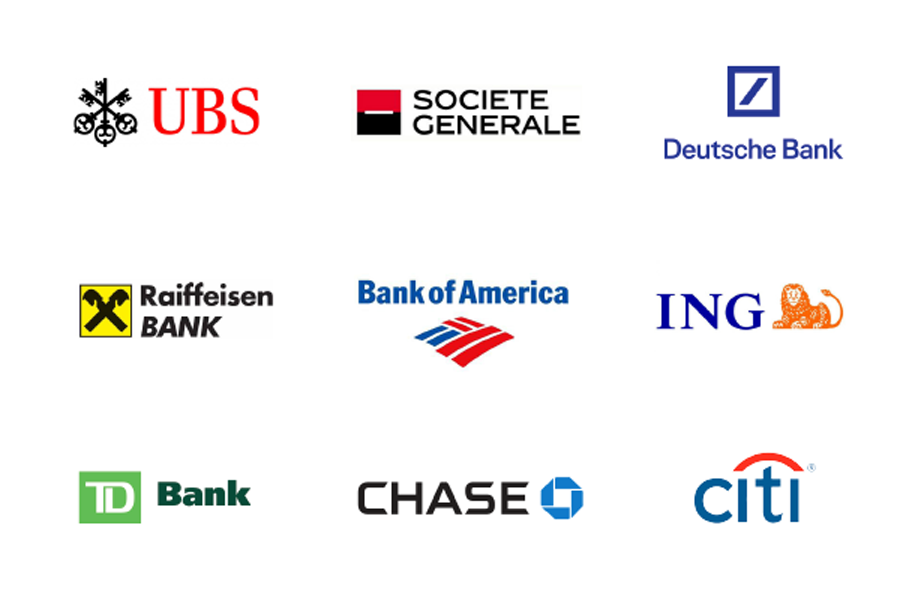 Famous banking and financial institution logos: UBS bank, Societe Generale, Doutsche Bank, Raiffeisen Bank, Bank of America, ING Bank, TD Bank, Chase Bank and Citi Bank.