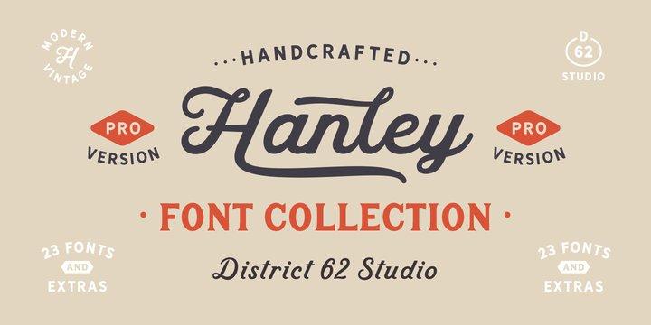 Hanley Pro—Script font for logos.