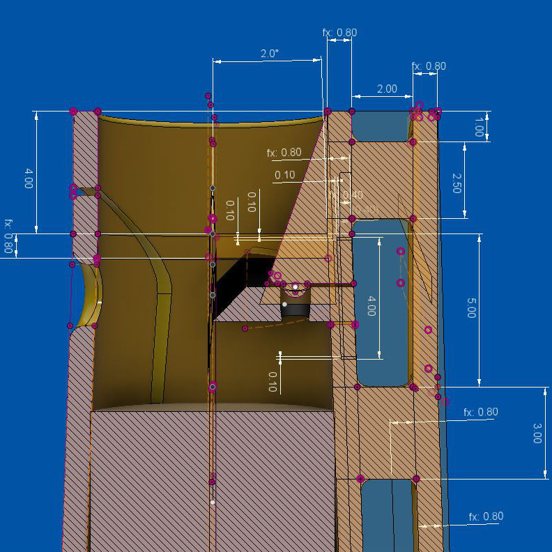 Technical design inside CAD software. Dimension of parts are represented around the drawing in white on a blue background.
