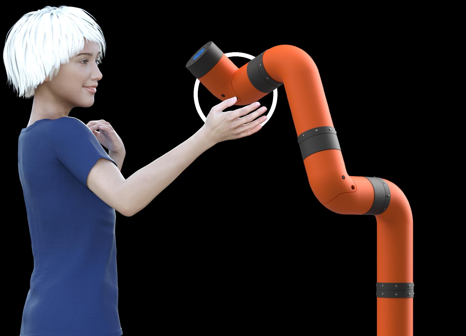 إيفا (عارضة افتراضية) تقوم بالاقتراب من ذراع الروبوت مـ 2