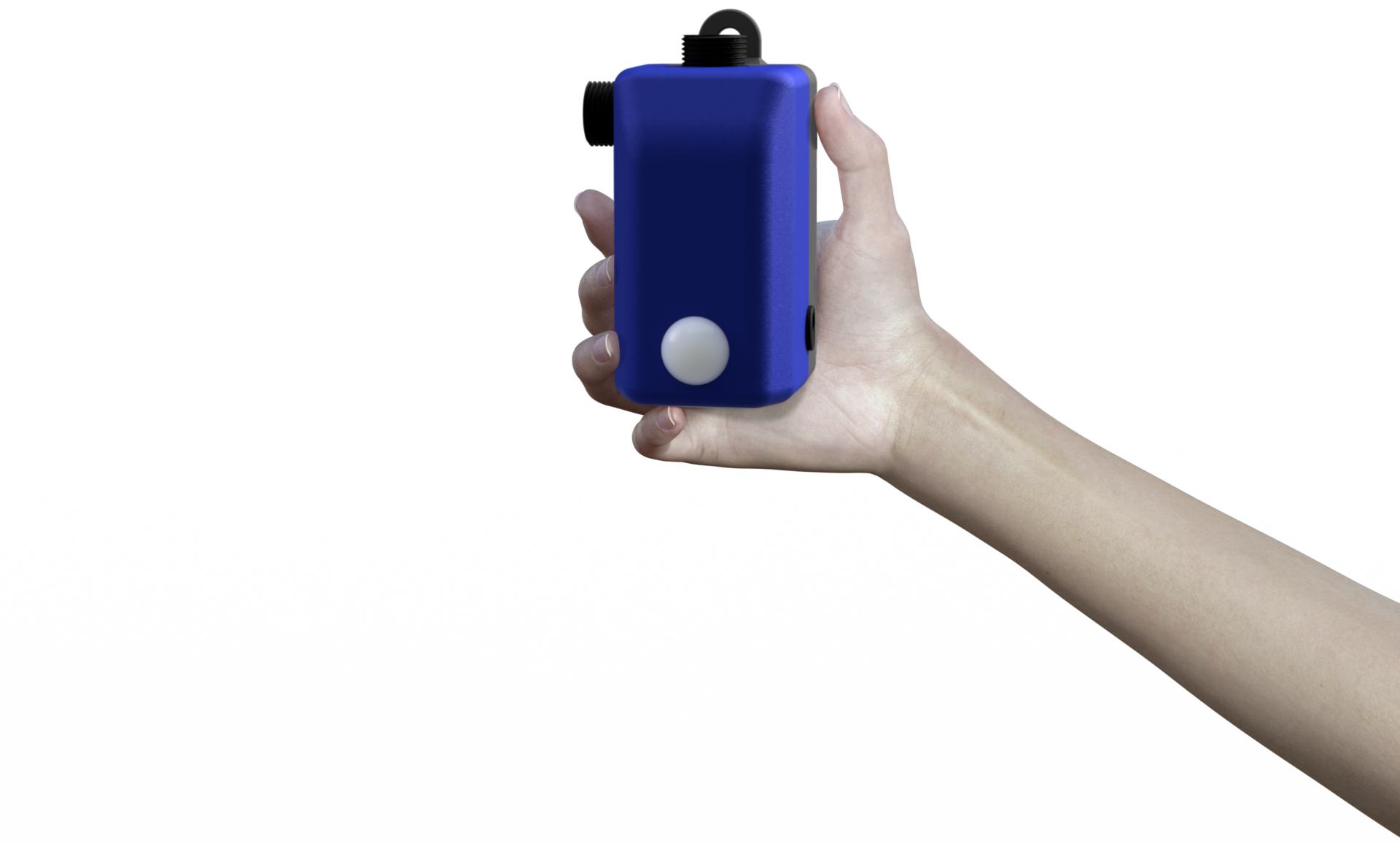 Ava (virtual model) hand holding MARND disinfectant compact pump.