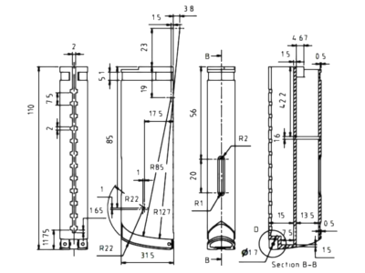 A sample 2D line technical drawing with dimensions, all in black lines.